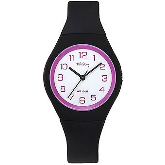 Tekday 654143 Children's Watch - Silicone Black and Pink Bo Tier Bracelet