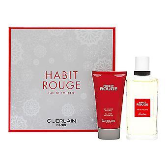 Habit rouge by guerlain for men 2 piece set includes: 3.4 oz eau de toilette spray + 2.5 oz all over shower gel