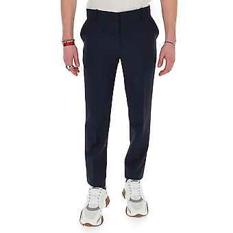 Alexander Mcqueen 598972qou124100 Men's Blue Cotton Pants