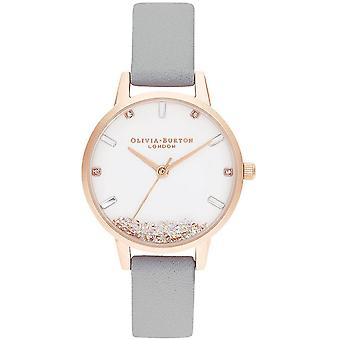 Olivia Burton Watches Ob16sg08 The Wishing Watch Grey & Rose Gold Leather Ladies Watch