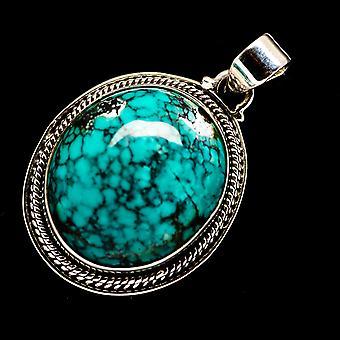 قلادة الفيروز التبتية 1 1/2 & (925 الجنيه الاسترليني الفضة) - اليدوية بوهو خمر مجوهرات PD720672