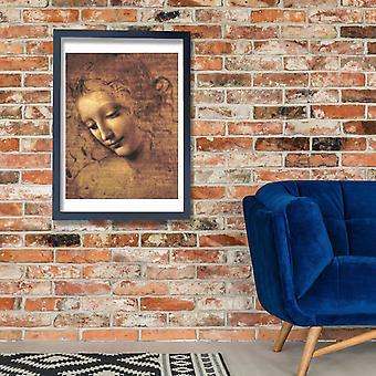 Leonardo Da Vinci - Female Head La Scapigliata 1508 Poster Print Giclee