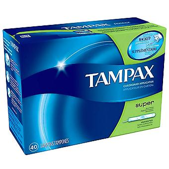 Tampax tampons with anti-slip grip cardboard applicator, super, 40 ea