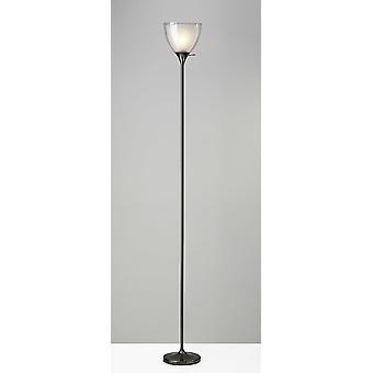 Lámpara de suelo de metal torchiere de acabado de níquel negro brillante con sombra interior esmerilada