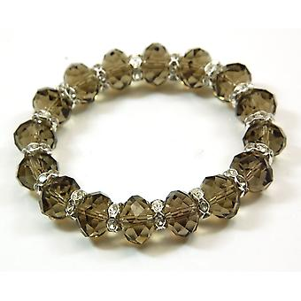 The Olivia Collection Smokey Brown Faceted Glass Beads Stretch Bracelet
