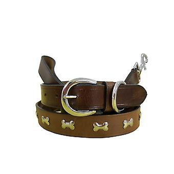 Bradley crompton genuine leather matching pair dog collar and lead set bcdc11brown