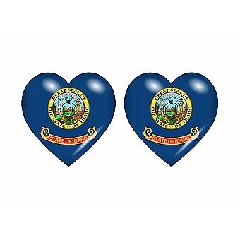 2x Stick sticker flag heart usa idaho