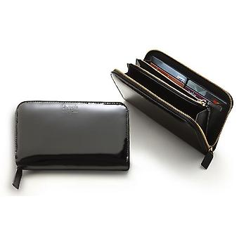 Zip Autour de Wallet Women-apos;s Black Varnished Italian Leather