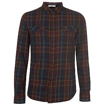 Wrangler Mens West Shirt Fold Over Collar Chest Print Long Sleeve Top