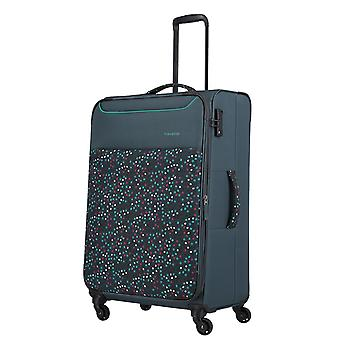 travelite Argon Trolley L, 4 Rollen, 77 cm, 92  L, Blau-gepunktet