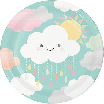 Baby Shower Sunshine Cloud Paper Plates x 8