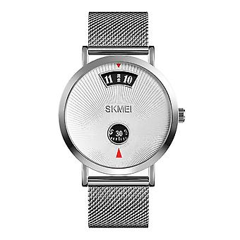 Skmei Mens Silver Something Different Dial Turn Watch Metal Mesh Strap Collector SK1489