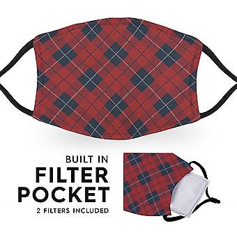 Red Diamond Tartan - Reusable Childrens Face Masks - 2 Filters Included
