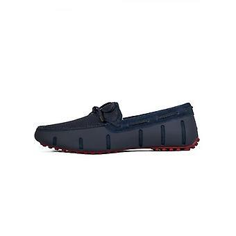 Swims Navy & diep rood gevlochten kant Lux driver loafer
