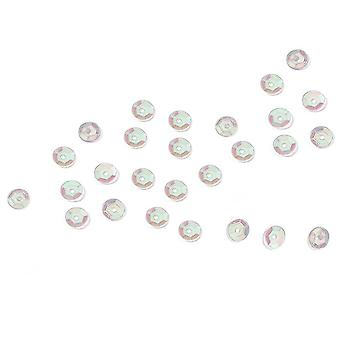200 Crystal Iridescent 8mm Round Cupped Sequins for Crafts