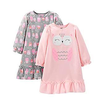 Simple Joys by Carter's Girls' Little Kid 2-Pack Fleece Nightgowns, Grey/Pink...