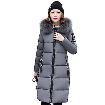 Womens Faux Fur Trim Hood Padded Long Parka Winter Coat