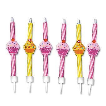 6 Cupcake Party Candles 8cm