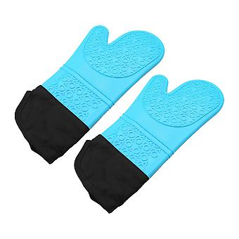 1Pair Oven Mitts Heat Resistant Gloves Blue