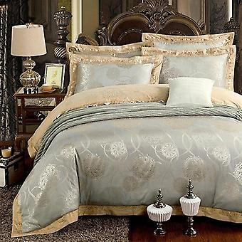 Silver Gold Embroidery Luxury Silk Satin Jacquard Duvet Cover Bedding Set