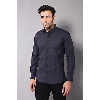 Själv vinrött färgpunkt mönster marinblå slimfit skjorta