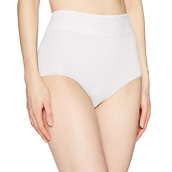 Warner's Women's No Pinching No Problem Microfiber with Lace Brief Panty, Whi...