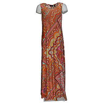Attitudes by Renee Women's Dress Sleeveless Printed Maxi Orange A387065