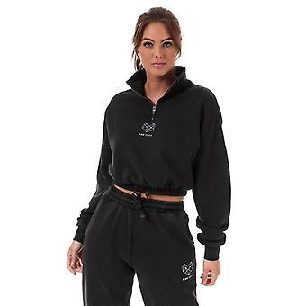 Women's Pink Soda Sport Wash 1/4 Zip Sweatshirt in Black