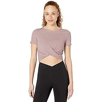 Core 10 Women's Plus Size Soft Pima Cotton Stretch Twist Front Cropped Yoga T...
