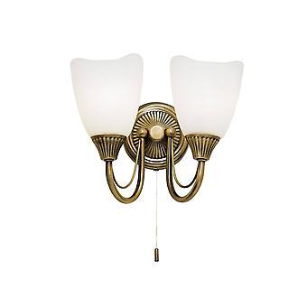Endon Haughton - 2 Light Indoor Wall Light Antique Brass avec verre Opal, E14