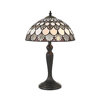 2 Lampe de table claire bronze foncé, verre Tiffany, E14