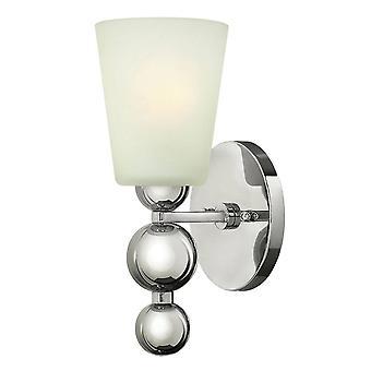Elstead Zelda - 1 luz de pared ligera pulido níquel vidrio sombra, E27