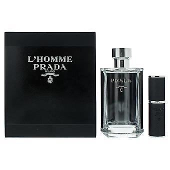 Prada L'Homme Prada Eau de Toilette 100ml & EDT 8ml Travel Spray Refillable