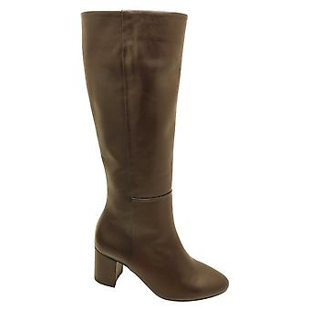 Gabor Knee High Brown Leather Boot With Stitch Detail & Block Heel