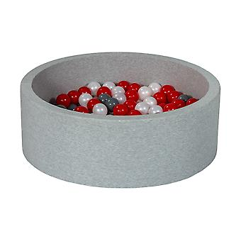 Ball pit 90 cm with 150 balls mother of pearl, red & grey