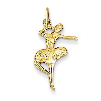 14 k giallo oro raso scintilla-Cut balletto ballerino fascino - 1,9 grammi