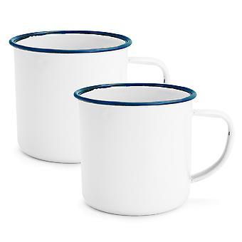 Rink Drink White Émail Tea / Coffee Mugs - 350ml - Blue Trim - Pack de 2