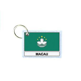 Porte cles cle clefs imprime double face drapeau MO macao