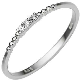 Women's Ring Narrow 585 Gold White Gold 3 Diamonds Brilliant 0.05ct. White gold ring