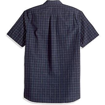 Goodthreads Men-apos;s Standard-Fit Short-Sleeve Plaid Poplin Shirt, -navy windowp...