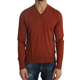 Dolce & Gabbana Orange Silk V-neck Pullover Sweater