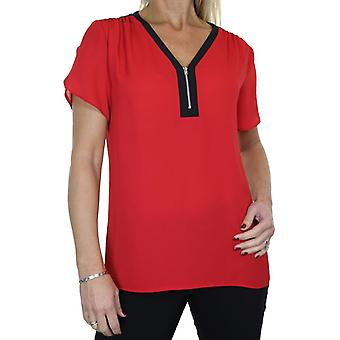 Femmes's Loose Zip V Neck Shirt Top Ladies Georgette Short Sleeve Casual Formal Business Office Evening Day Smart Chemisier Taille 8