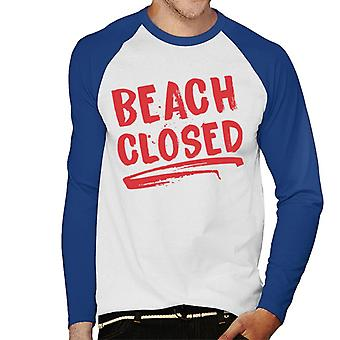 Jaws Beach Closed Men's Baseball Long Sleeved T-Shirt