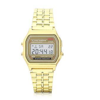 Herren Mode Digital Rechteck Zifferblatt Alarm Chronograph Legierung Band Sport Uhr