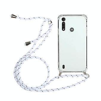 For Motorola Moto G8 Power Lite Four-Corner Anti-Fall Transparent TPU Protective Case with Lanyard(White)
