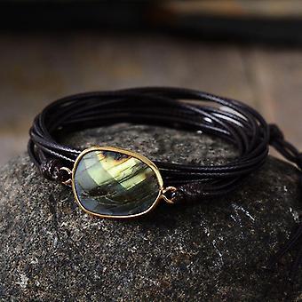 Kötél Wrap karkötő, természetes kövek Labradorite Boho Hosszú, Barátság Egyedi