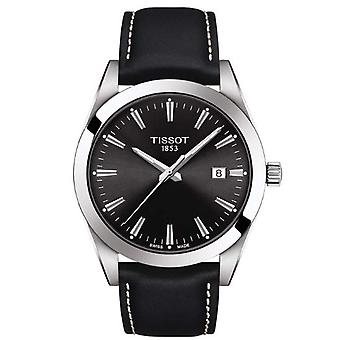 Tissot T1274101605100 Gentleman Silver Stainless Steel and Black Leather Men's Watch