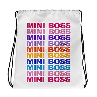 Mini Boss Print Drawstring Bag