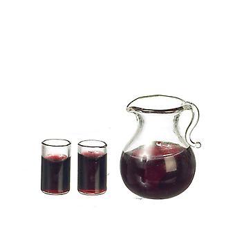 Dolls House Jug & 2 verres de jus avec accessoire de cuisine miniature de glace