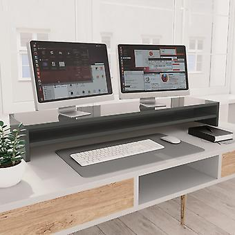Monitor stand high gloss grey 100×24×13 cm chipboard